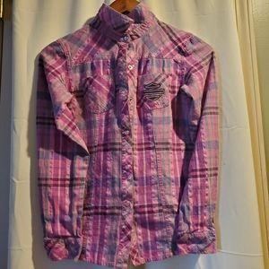 Girls 10/12 Pink/Purple Harley Davidson snap shirt